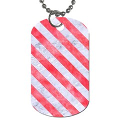 Stripes3 White Marble & Red Watercolor Dog Tag (one Side) by trendistuff