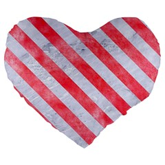 Stripes3 White Marble & Red Watercolor Large 19  Premium Heart Shape Cushions by trendistuff