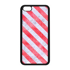 Stripes3 White Marble & Red Watercolor Apple Iphone 5c Seamless Case (black) by trendistuff