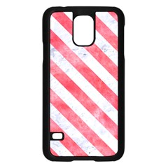 Stripes3 White Marble & Red Watercolor Samsung Galaxy S5 Case (black) by trendistuff