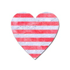 Stripes2white Marble & Red Watercolor Heart Magnet by trendistuff