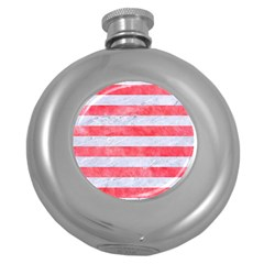 Stripes2white Marble & Red Watercolor Round Hip Flask (5 Oz) by trendistuff