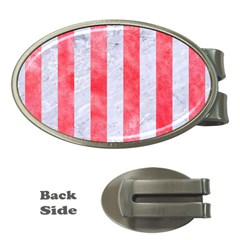 Stripes1 White Marble & Red Watercolor Money Clips (oval)  by trendistuff