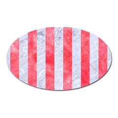 Stripes1 White Marble & Red Watercolor Oval Magnet by trendistuff