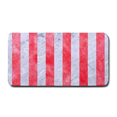 Stripes1 White Marble & Red Watercolor Medium Bar Mats by trendistuff