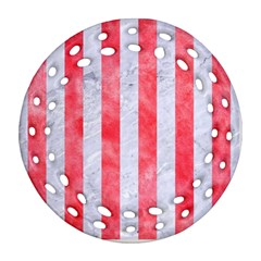Stripes1 White Marble & Red Watercolor Ornament (round Filigree) by trendistuff