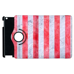 Stripes1 White Marble & Red Watercolor Apple Ipad 2 Flip 360 Case by trendistuff