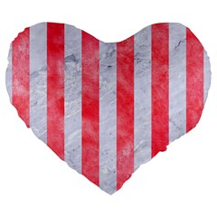 Stripes1 White Marble & Red Watercolor Large 19  Premium Flano Heart Shape Cushions by trendistuff