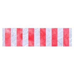 Stripes1 White Marble & Red Watercolor Satin Scarf (oblong) by trendistuff
