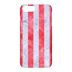 Stripes1 White Marble & Red Watercolor Apple Iphone 8 Plus Hardshell Case by trendistuff