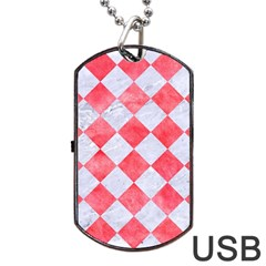 Square2 White Marble & Red Watercolor Dog Tag Usb Flash (one Side) by trendistuff