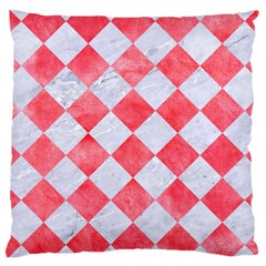 Square2 White Marble & Red Watercolor Large Cushion Case (two Sides) by trendistuff
