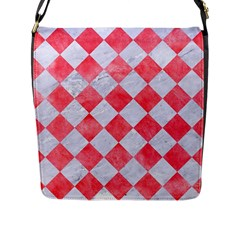 Square2 White Marble & Red Watercolor Flap Messenger Bag (l)  by trendistuff