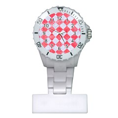 Square2 White Marble & Red Watercolor Plastic Nurses Watch by trendistuff