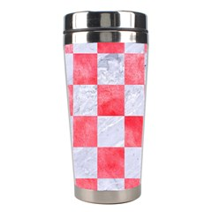 Square1 White Marble & Red Watercolor Stainless Steel Travel Tumblers by trendistuff