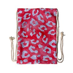 Skin5 White Marble & Red Watercolor (r) Drawstring Bag (small)