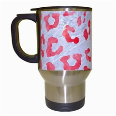 Skin5 White Marble & Red Watercolor Travel Mugs (white)