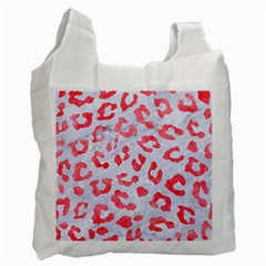 Skin5 White Marble & Red Watercolor Recycle Bag (one Side)