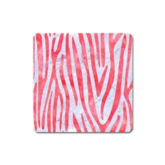 Skin4 White Marble & Red Watercolor Square Magnet by trendistuff