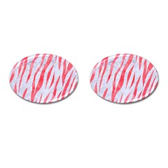 Skin3 White Marble & Red Watercolor (r) Cufflinks (oval) by trendistuff