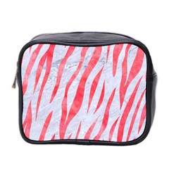 Skin3 White Marble & Red Watercolor (r) Mini Toiletries Bag 2 Side by trendistuff