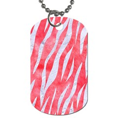 Skin3 White Marble & Red Watercolor Dog Tag (one Side) by trendistuff