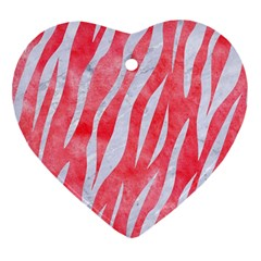 Skin3 White Marble & Red Watercolor Heart Ornament (two Sides) by trendistuff