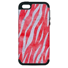 Skin3 White Marble & Red Watercolor Apple Iphone 5 Hardshell Case (pc+silicone) by trendistuff