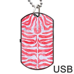 Skin2 White Marble & Red Watercolor Dog Tag Usb Flash (one Side)