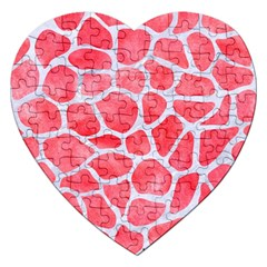 Skin1 White Marble & Red Watercolor (r) Jigsaw Puzzle (heart) by trendistuff