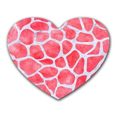 Skin1 White Marble & Red Watercolor (r) Heart Mousepads by trendistuff