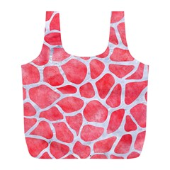 Skin1 White Marble & Red Watercolor (r) Full Print Recycle Bags (l)  by trendistuff