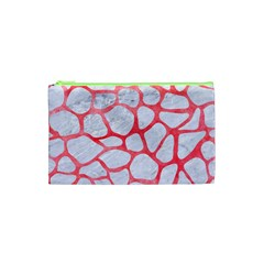 Skin1 White Marble & Red Watercolor Cosmetic Bag (xs) by trendistuff
