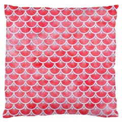 Scales3 White Marble & Red Watercolor Large Flano Cushion Case (one Side) by trendistuff