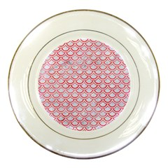 Scales2 White Marble & Red Watercolor (r) Porcelain Plates by trendistuff