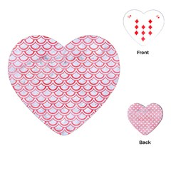 Scales2 White Marble & Red Watercolor (r) Playing Cards (heart)  by trendistuff