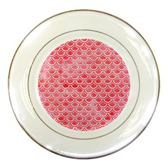 Scales2 White Marble & Red Watercolor Porcelain Plates by trendistuff