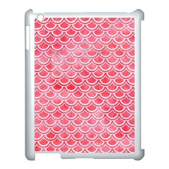 Scales2 White Marble & Red Watercolor Apple Ipad 3/4 Case (white) by trendistuff