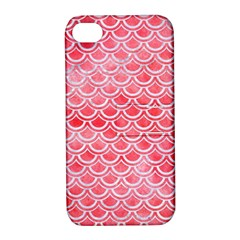 Scales2 White Marble & Red Watercolor Apple Iphone 4/4s Hardshell Case With Stand by trendistuff