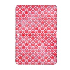 Scales2 White Marble & Red Watercolor Samsung Galaxy Tab 2 (10 1 ) P5100 Hardshell Case  by trendistuff