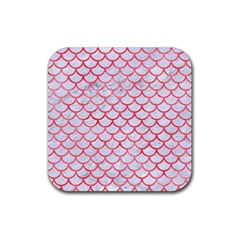 Scales1 White Marble & Red Watercolor (r) Rubber Coaster (square)  by trendistuff