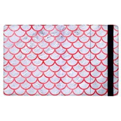 Scales1 White Marble & Red Watercolor (r) Apple Ipad 3/4 Flip Case by trendistuff