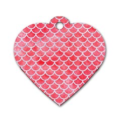 Scales1 White Marble & Red Watercolor Dog Tag Heart (two Sides) by trendistuff