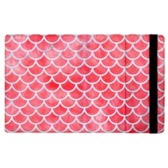 Scales1 White Marble & Red Watercolor Apple Ipad 2 Flip Case by trendistuff