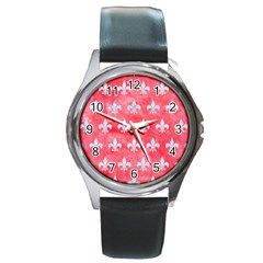 Royal1 White Marble & Red Watercolor (r) Round Metal Watch by trendistuff