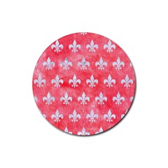 Royal1 White Marble & Red Watercolor (r) Rubber Round Coaster (4 Pack)  by trendistuff