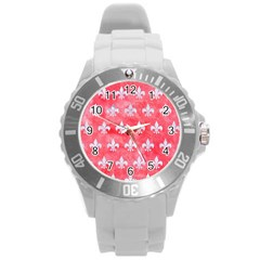 Royal1 White Marble & Red Watercolor (r) Round Plastic Sport Watch (l) by trendistuff