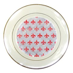 Royal1 White Marble & Red Watercolor Porcelain Plates by trendistuff