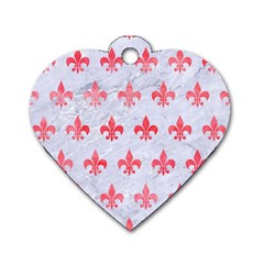 Royal1 White Marble & Red Watercolor Dog Tag Heart (one Side) by trendistuff
