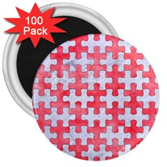 Puzzle1 White Marble & Red Watercolor 3  Magnets (100 Pack) by trendistuff